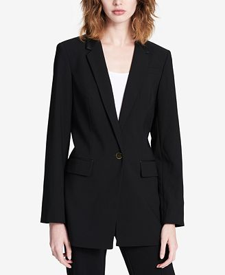 Calvin Klein Faux-Leather-Collar Blazer, Regular & Petite