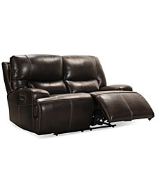 "Calver 67"" Leather Power Reclining Loveseat With Power Headrest and USB Power Outlet, Created for Macy's"