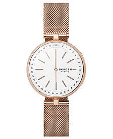 Skagen Women's Signatur Rose Gold-Tone Stainless Steel Mesh Bracelet Hybrid Smartwatch 36mm