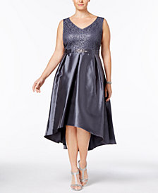 SL Fashions Plus Size Sequined Lace & Satin Dress