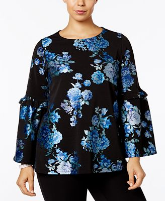 Alfani Plus Size Metallic Floral-Print Top, Created for Macy's