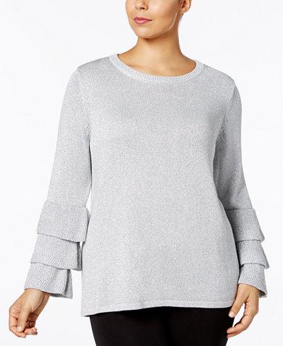 Calvin Klein Plus Size Metallic Ruffle-Sleeve Sweater
