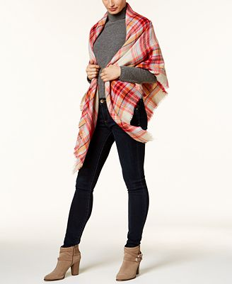 Collection XIIX College Plaid Runway Wrap & Scarf in One