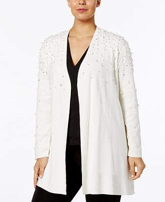 Alfani Plus Size Embellished Open-Front Cardigan, Created for Macy's
