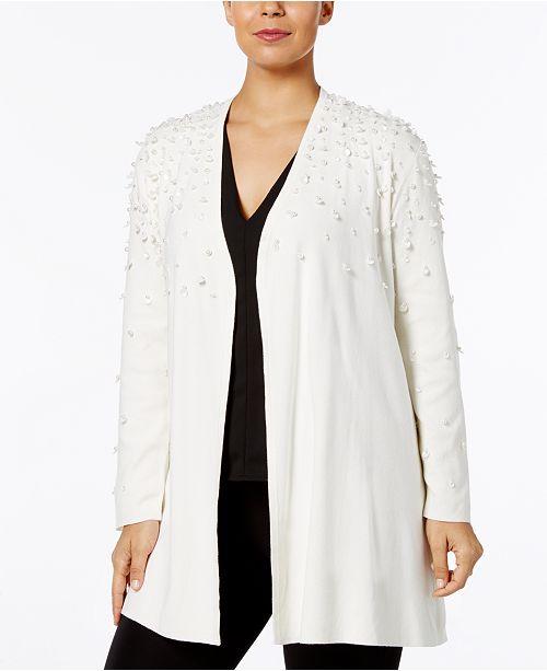 Alfani Plus Size Embellished Open-Front Cardigan, Created for Macy's
