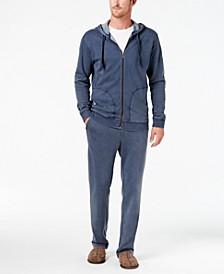Men's Washed-Fleece Hoodie, Pajama Pants & Scuff Slippers