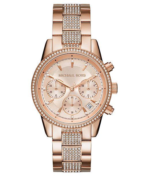 ... Michael Kors Women s Chronograph Ritz Rose Gold-Tone Stainless Steel  Bracelet Watch ... 2f0189a2a9