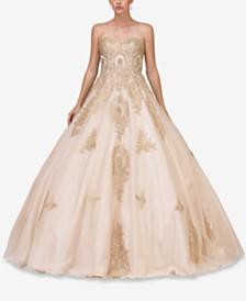 Dancing Queen Juniors' Rhinestone Appliqué Gown