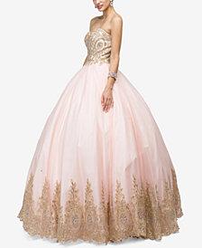 Dancing Queen Juniors' Embellished Appliqué Gown
