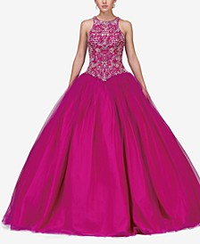 Juniors' Embellished Gown