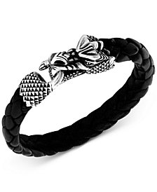 King Baby Men's Dragon Braided Leather Bracelet in Sterling Silver