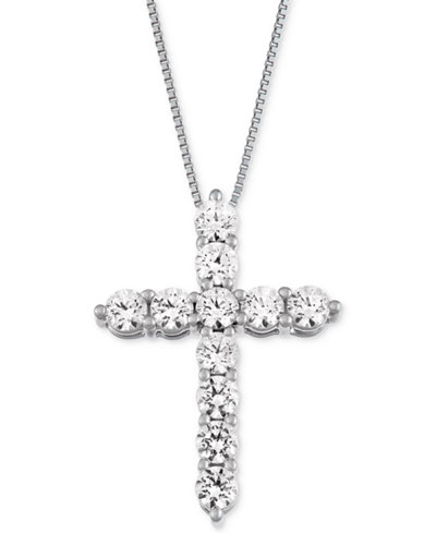 Macy's Star Signature Diamond™ Cross Pendant Necklace (1 ct. t.w.) in 14k Gold or White Gold
