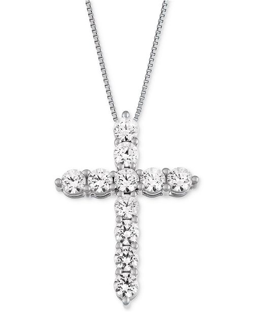 ... Macy s Star Signature Diamond Cross Pendant Necklace (1 ct. t.w.) in  14k Gold ... 942fbcc59835
