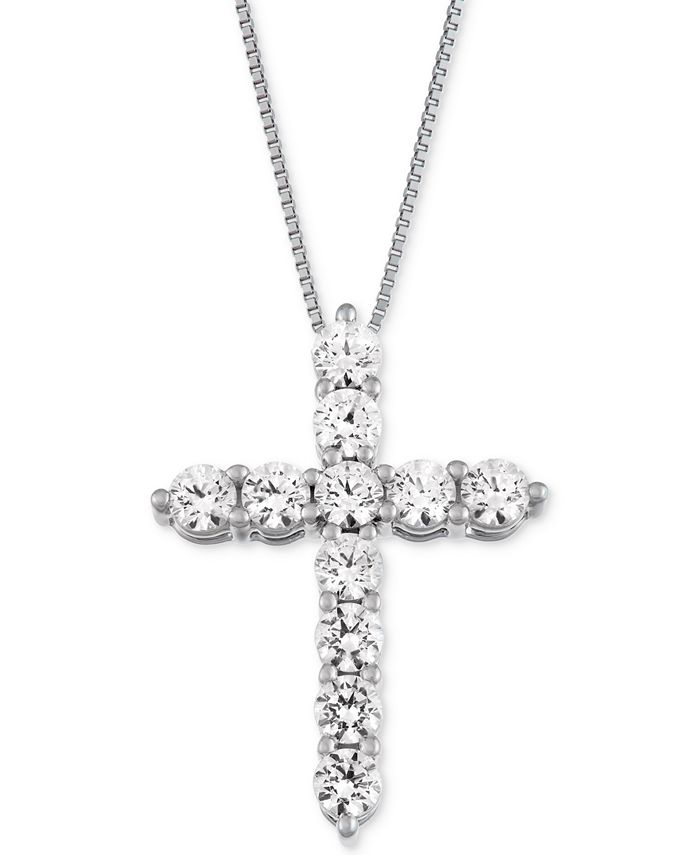 Macy's Star Signature Diamond - Certified ™ Cross Pendant Necklace (1 ct. t.w.) in 14k Gold or White Gold