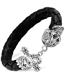 King Baby Men's Decorative Skull Braided Leather Bracelet in Sterling Silver