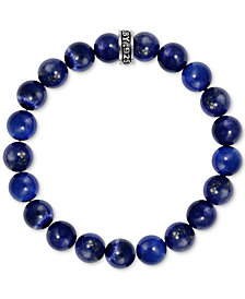 King Baby Men's Lapis Beaded Stretch Bracelet in Sterling Silver
