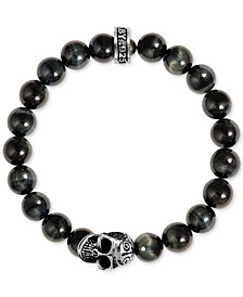 King Baby Men's Blue Tiger Eye Beaded Skull Stretch Bracelet in Sterling Silver
