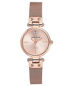 Anne Klein Women's Diamond-Accent Rose Gold-Tone Stainless Steel Mesh Bracelet Watch 26mm