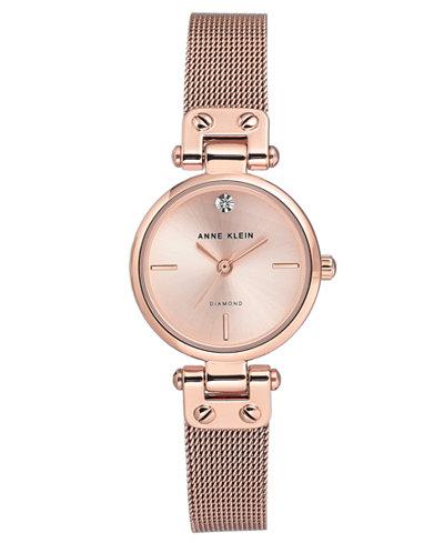 Anne Klein Women's Diamond-Accent Rose Gold-Tone Stainless Steel Mesh Bracelet Watch 26mm