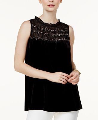 Alfani Petite Embellished-Illusion Velvet Top, Created for Macy's