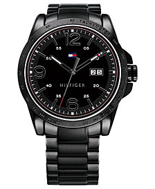 Tommy Hilfiger Men's Black PVD Stainless Steel Bracelet Watch 44mm Created for Macy's