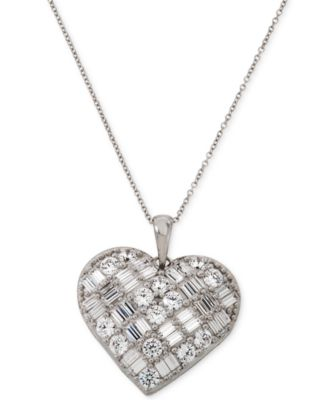 Cubic Zirconia Heart Pendant Necklace in Sterling Silver, Created for Macy's