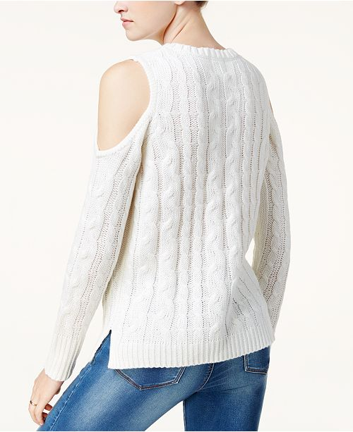 Hippie Rose Juniors Cold Shoulder Cable Knit Sweater Sweaters