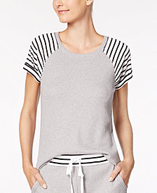 Alfani Stripe-Trimmed Thermal Pajama Top, Created for Macy's