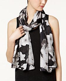 Calvin Klein Shadow-Stripe Floral Scarf