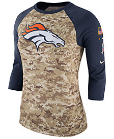 Nike Women's Denver Broncos Salute To Service Three-Quarter Raglan T-Shirt