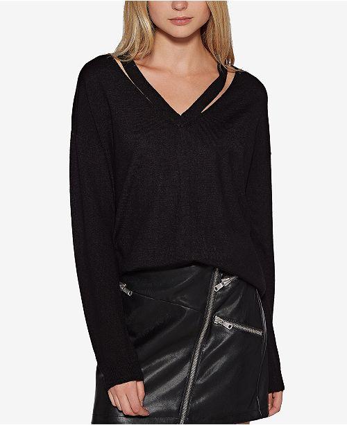 Avec Les Filles Cutout V-Neck Sweater