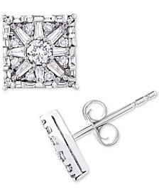 Diamond Square Star Stud Earrings (1 ct. t.w.) in 14k White Gold