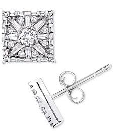 Diamond Square Star Stud Earrings (1 ct. t.w.) in 14k White Gold