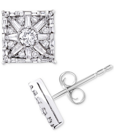 Diamond Square Star Stud Earrings 1 Ct T W In 14k White Gold