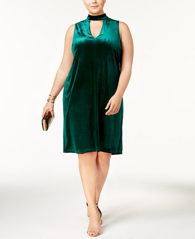 Soprano Trendy Plus Size Velvet Choker Dress - Dresses - Plus ...