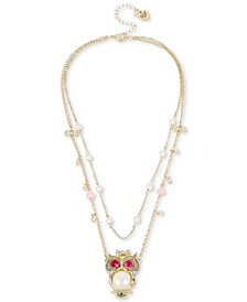 Gold-Tone Multi-Stone & Imitation Pearl Owl Pendant Double-Row Necklace