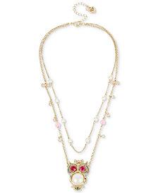 Betsey Johnson Gold-Tone Multi-Stone & Imitation Pearl Owl Pendant Double-Row Necklace