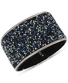 Kenneth Cole New York Silver-Tone Crystal Velvet Statement Bracelet