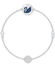 Swarovski Remix Collection Silver-Tone Crystal Swan & Orb Magnetic Flex Bracelet
