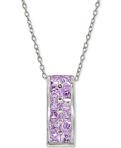 Giani Bernini Cubic Zirconia Purple Cluster Pendant Necklace in Sterling Silver, Created for Macy's