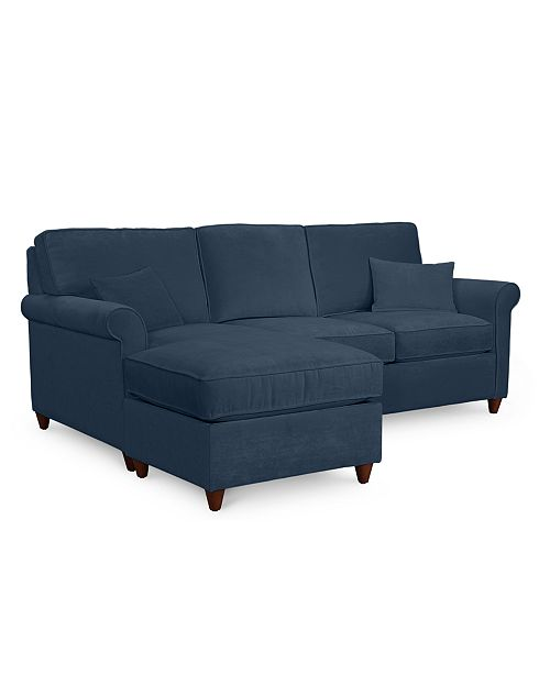 Furniture Lidia 82 Fabric 2 Pc Chaise Sectional Queen Sleeper Sofa With Storage Ottoman Custom Colors Created For Macy S