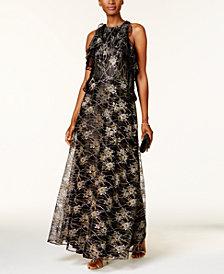 Tahari ASL Metallic Lace Gown
