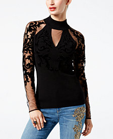 I.N.C. Flocked-Velvet Illusion Sweater, Created for Macy's