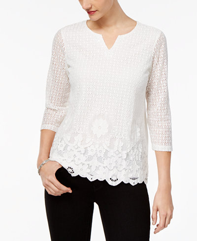 Alfred Dunner Petite Knit Lace Top