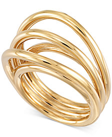 SIS by Simone I. Smith Multi-Line Statement Ring in 14k Gold over Sterling Silver