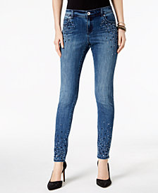 I.N.C. Petite Embellished Skinny Jeans, Created for Macy's