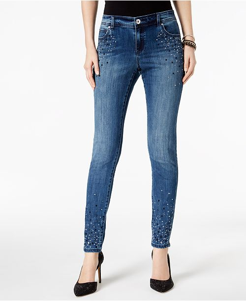 INC International Concepts I.N.C. Embellished Skinny Jeans, Created for Macy's