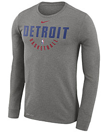 Nike Men's Detroit Pistons Dri-FIT Cotton Practice Long Sleeve T-Shirt