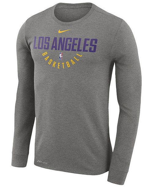 71b6015f505 ... Nike Men s Los Angeles Lakers Dri-FIT Cotton Practice Long Sleeve T- Shirt ...