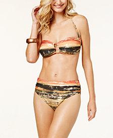Carmen Marc Valvo Pacific Sunset Foil-Print Bandeau Bikini Top & Shirred Bottoms